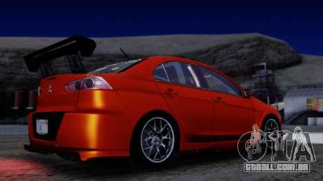 Mitsubishi Lancer Evolution X Tunable New PJ para vista lateral GTA San Andreas