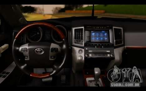 Toyota Land Cruiser 200 2013 Off Road para GTA San Andreas traseira esquerda vista