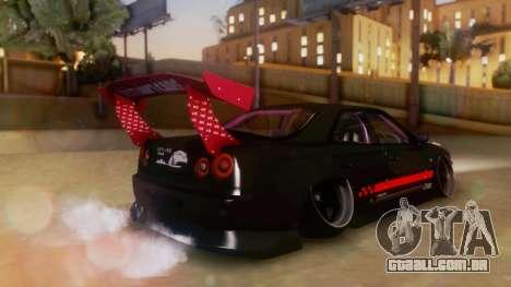 Nissan Skyline GT-R R34 Hella para GTA San Andreas esquerda vista