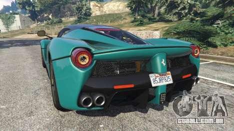 GTA 5 Ferrari LaFerrari 2015 v1.2 traseira vista lateral esquerda