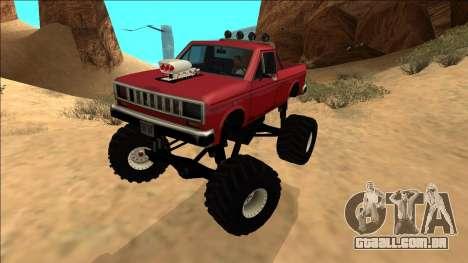 Bobcat Monster Truck para GTA San Andreas traseira esquerda vista