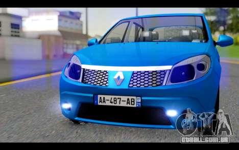 Renault Sandero para GTA San Andreas vista traseira