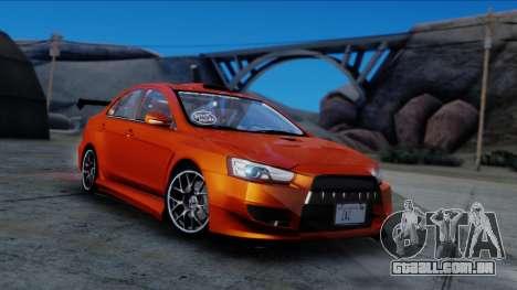 Mitsubishi Lancer Evolution X Tunable New PJ para GTA San Andreas vista direita