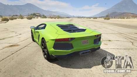 GTA 5 Lamborghini Aventador LP700-4 v.2.2 traseira vista lateral esquerda
