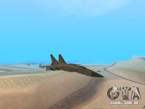 O MiG 25 para GTA San Andreas traseira esquerda vista