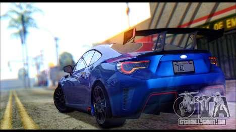 Subaru BRZ STi Concept 2016 para GTA San Andreas vista traseira