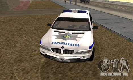 BMW X5 Ukranian Police para GTA San Andreas traseira esquerda vista