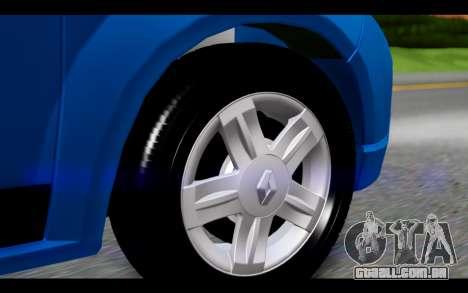 Renault Sandero para GTA San Andreas traseira esquerda vista