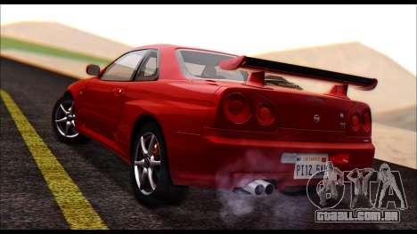Nissan Skyline R-34 GT-R V-spec 1999 No Dirt para GTA San Andreas esquerda vista