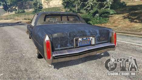 GTA 5 Cadillac Fleetwood Brougham 1985 [rusty] traseira vista lateral esquerda