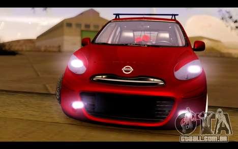 Nissan March 2011 Hellaflush para GTA San Andreas vista traseira