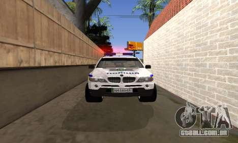 BMW X5 Ukranian Police para vista lateral GTA San Andreas