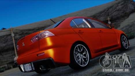 Mitsubishi Lancer Evolution X Tunable New PJ para GTA San Andreas esquerda vista