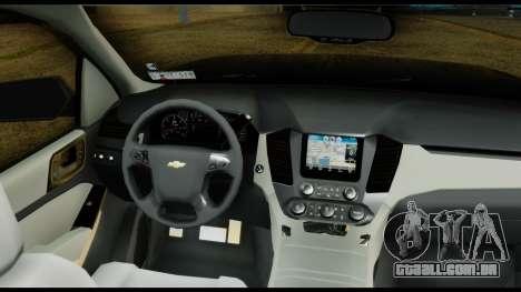 Chevrolet Tahoe 2015 para GTA San Andreas vista traseira