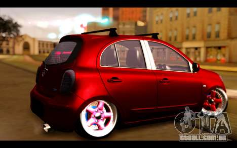 Nissan March 2011 Hellaflush para GTA San Andreas esquerda vista