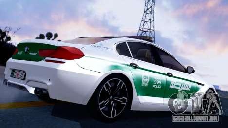 BMW M6 F13 Gran Coupe 2014 Dubai Police para GTA San Andreas esquerda vista
