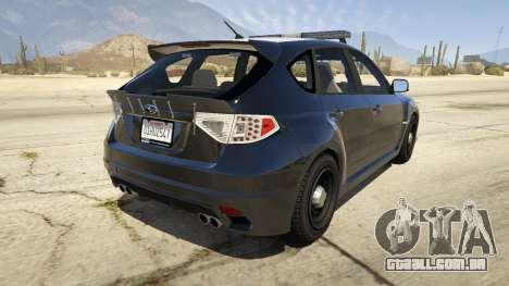GTA 5 LAPD Subaru Impreza WRX STI traseira vista lateral esquerda