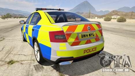 GTA 5 2014 Police Skoda Octavia VRS Hatchback traseira vista lateral esquerda