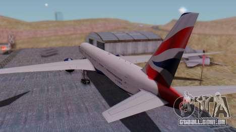Boeing 777-9x British Airways para GTA San Andreas esquerda vista
