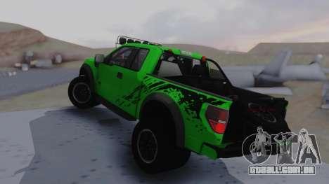 Ford F-150 SVT Raptor 2012 para GTA San Andreas esquerda vista