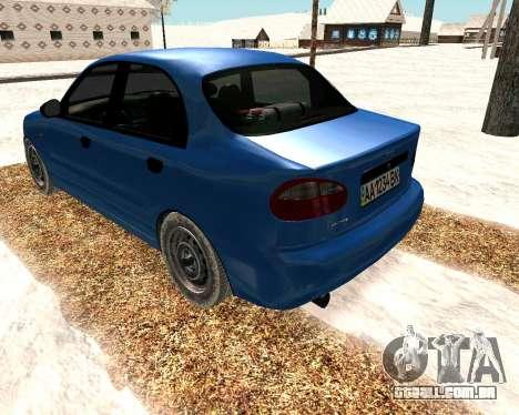 Daewoo Lanos 2001 Winter para GTA San Andreas traseira esquerda vista