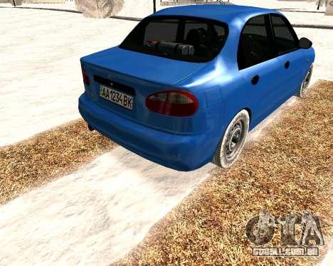 Daewoo Lanos 2001 Winter para GTA San Andreas vista direita