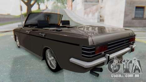 Peykan 80 Spyder para GTA San Andreas traseira esquerda vista