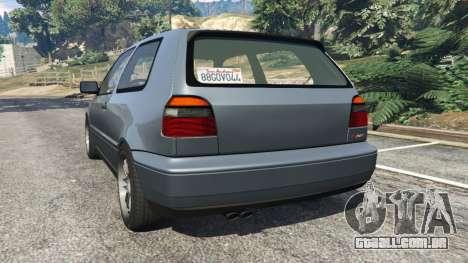 GTA 5 Volkswagen Golf Mk3 VR6 1998 Highline DTD v1.0a traseira vista lateral esquerda