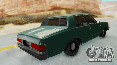 Chevrolet Malibu 1981 Twin Turbo para GTA San Andreas traseira esquerda vista