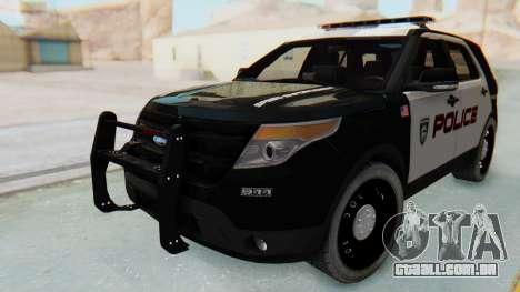 Ford Explorer Police para GTA San Andreas traseira esquerda vista