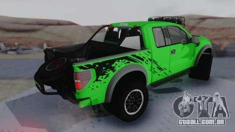 Ford F-150 SVT Raptor 2012 para GTA San Andreas traseira esquerda vista