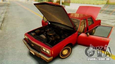 Chevrolet Impala 1984 para GTA San Andreas vista interior