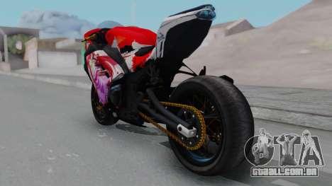 Kawasaki Ninja FI Custom Rias Gremory Itasha para GTA San Andreas traseira esquerda vista