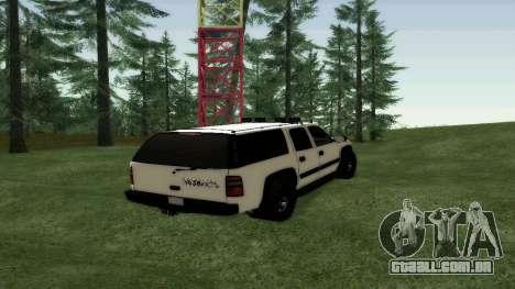 Chevrolet Suburban Offroad Final Version para GTA San Andreas traseira esquerda vista