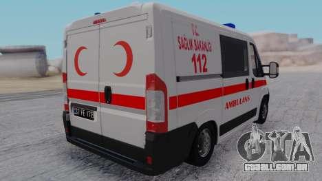 Fiat Ducato Turkish Ambulance para GTA San Andreas esquerda vista
