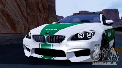 BMW M6 F13 Gran Coupe 2014 Dubai Police para GTA San Andreas traseira esquerda vista