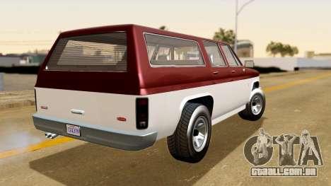 GTA 5 Declasse Rancher XL IVF para GTA San Andreas esquerda vista
