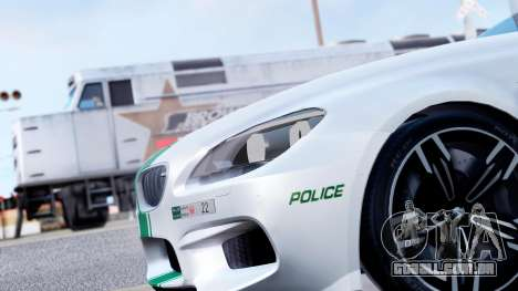 BMW M6 F13 Gran Coupe 2014 Dubai Police para GTA San Andreas vista traseira