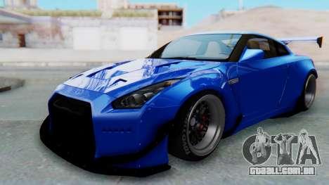 Nissan GT-R R35 Rocket Bunny para GTA San Andreas traseira esquerda vista