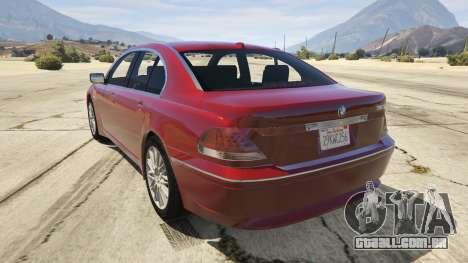 GTA 5 BMW 760i E65 traseira vista lateral esquerda
