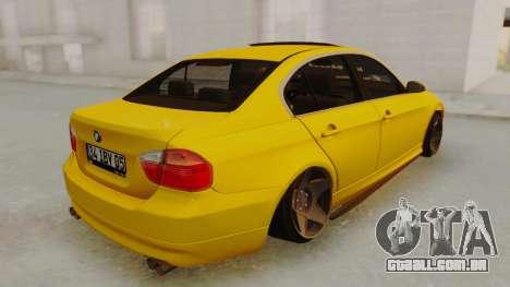 BMW M3 E90 para GTA San Andreas traseira esquerda vista