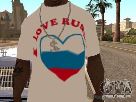 T-shirt I love Rússia para GTA San Andreas segunda tela