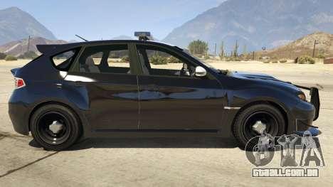 GTA 5 LAPD Subaru Impreza WRX STI vista lateral esquerda