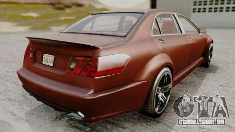 GTA 5 Benefactor Schafter LWB para GTA San Andreas traseira esquerda vista