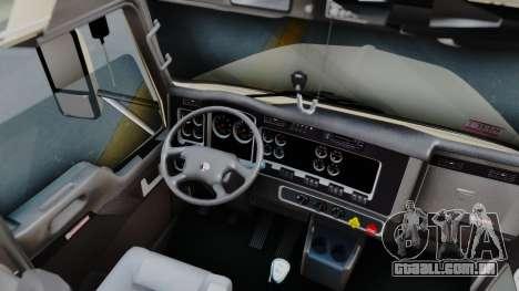 Kenworth T800 38s Flat Top para GTA San Andreas vista interior