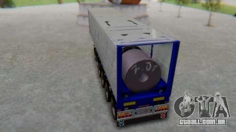 Trailer Colis Blue para GTA San Andreas traseira esquerda vista