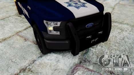 Ford F-150 2015 Policia Federal para GTA San Andreas vista traseira