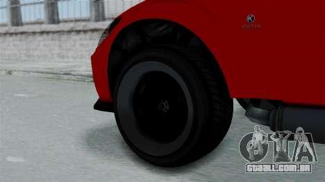 GTA 5 Karin Sultan RS Stock PJ para GTA San Andreas traseira esquerda vista
