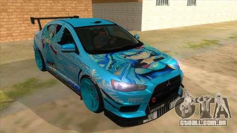 Mitsubishi Lancer Evolution X Koi-chan Itasha para GTA San Andreas vista traseira