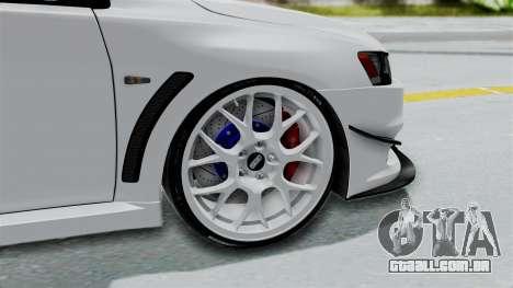 Mitsubishi Lancer Evolution X GSR Full Tunable para GTA San Andreas traseira esquerda vista